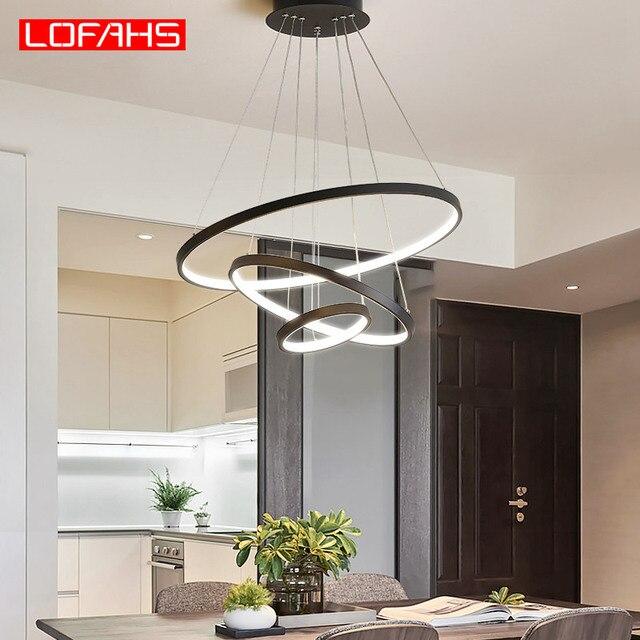 LOFAHS מודרני Led תליון אור לתלות אלומיניום מעגל טבעת מנורת מרחוק תאורה למטבח סלון חדר אוכל luminaire suspendu