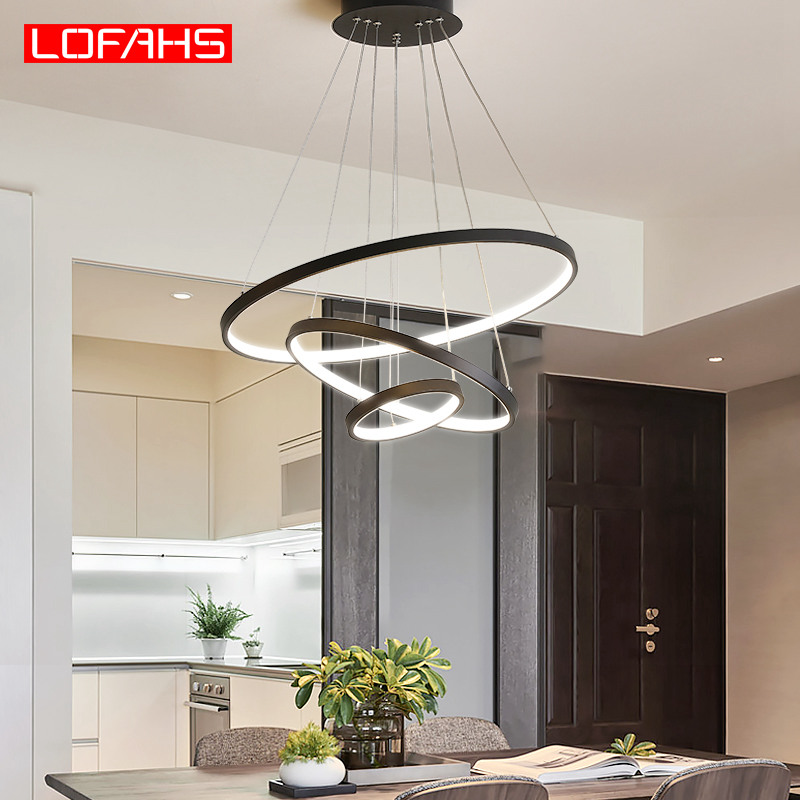 US $49.44 45% OFF|LOFAHS Modern Led Pendant Light Hang Aluminum Circle ring  lamp Remote Lighting For Kitchen Living Room dining luminaire suspendu-in  ...