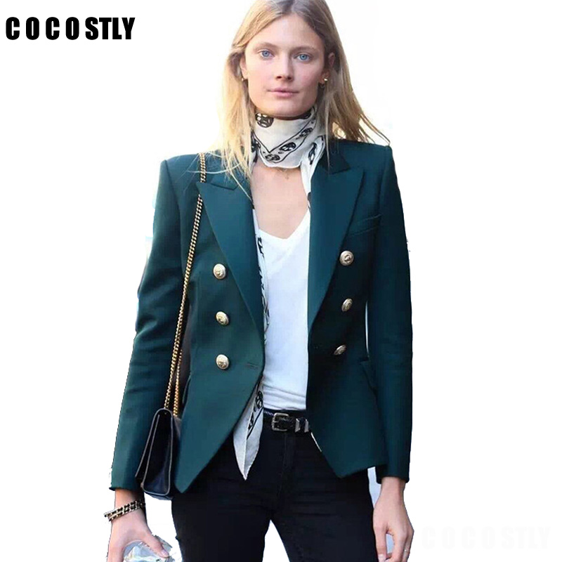 Metal Buttons Suit For Womens Double Breasted Fashion 2019 Autumn Spring Elegant Blazer Jacket Basic Outwear Coats Cool Style