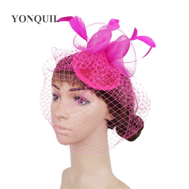 54c6b05dc3ea7 2018 New Dinner Party hot pink Fedoras rose Fascinators Hat Wedding Bridal  Mesh Veil Hats hair