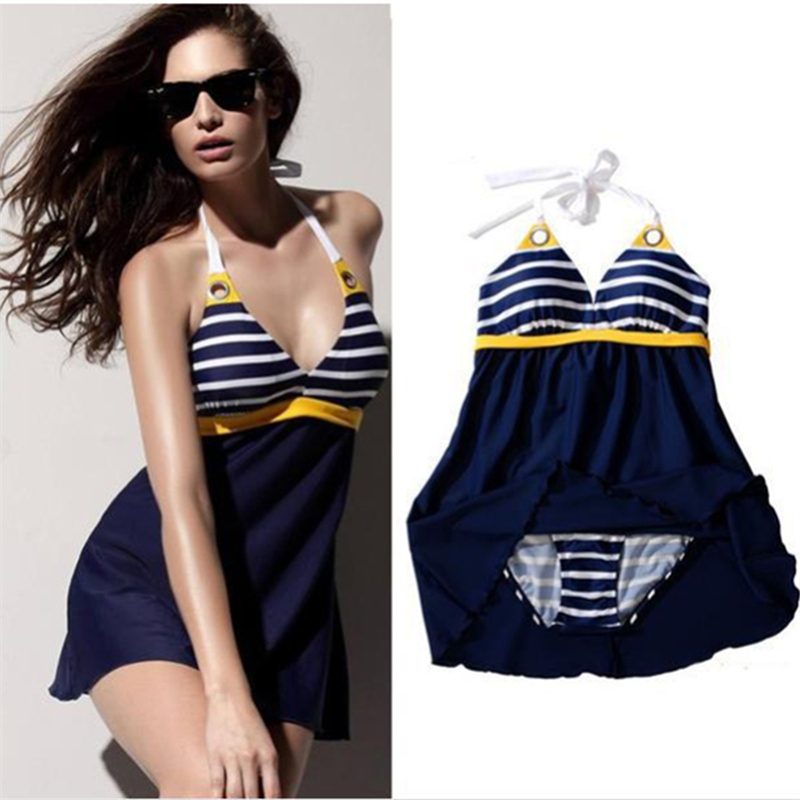 Big Plus Size Sexy Swimwear Navy Blue Stripe Skirt Halter One Piece