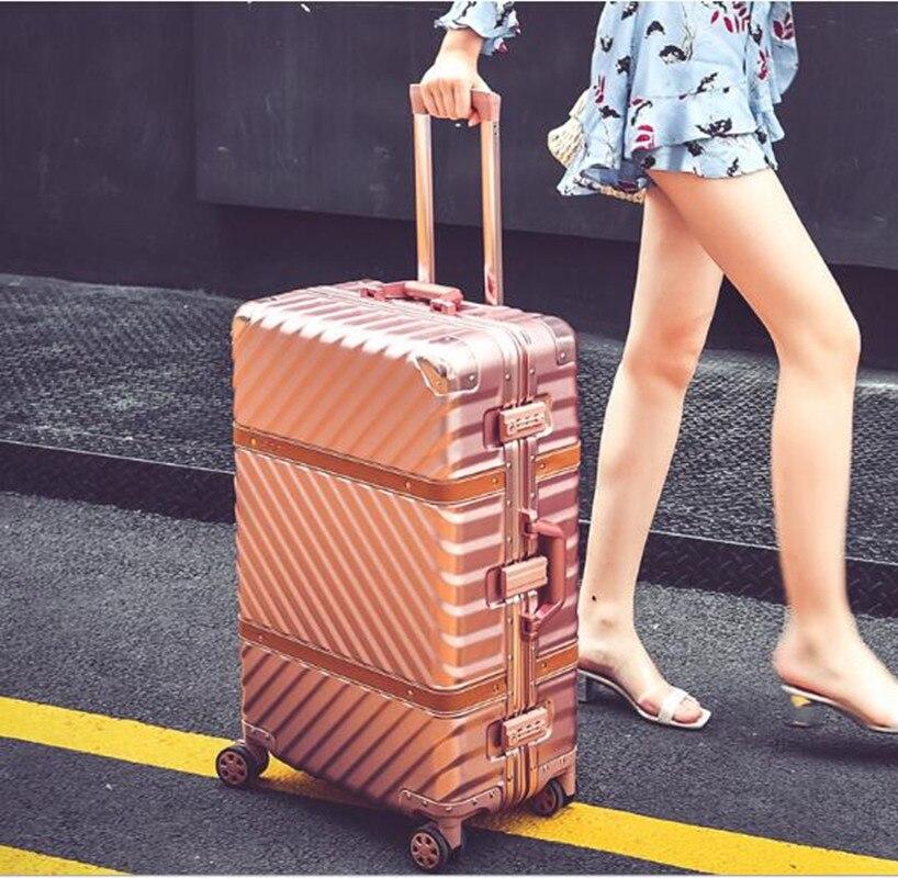 Valise à bagages roulante Vintage 20 bagage à main 24 26 29 bagages cadre en aluminium chariot de voyage boîte à ceinture en peau de mouton mala valis XL014