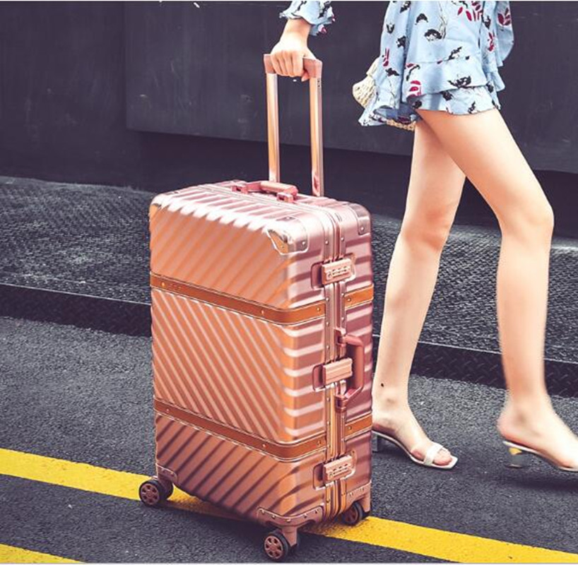 Vintage Rolling Luggage Suitcase 20 Carry On 24 26 29 Luggage Aluminum Frame Travel Trolley Sheepskin Belt Box Mala Valis XL014