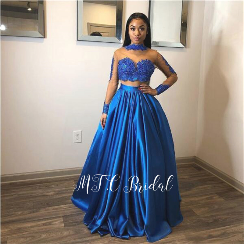 2 Piece Formal   Prom     Dresses   Long Sleeve Lace Sheer A Line Satin Blue Evening Gowns 2019 New Arrival Women Wedding Party   Dress