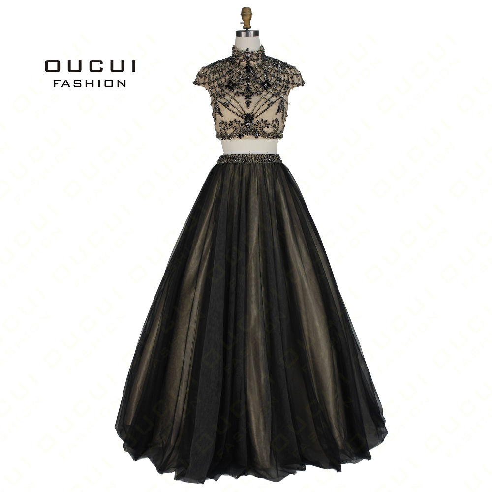 Real Photos Cap Sleeves Ball gown Long Prom Crystal Evening Dress two piece Dress High Neck