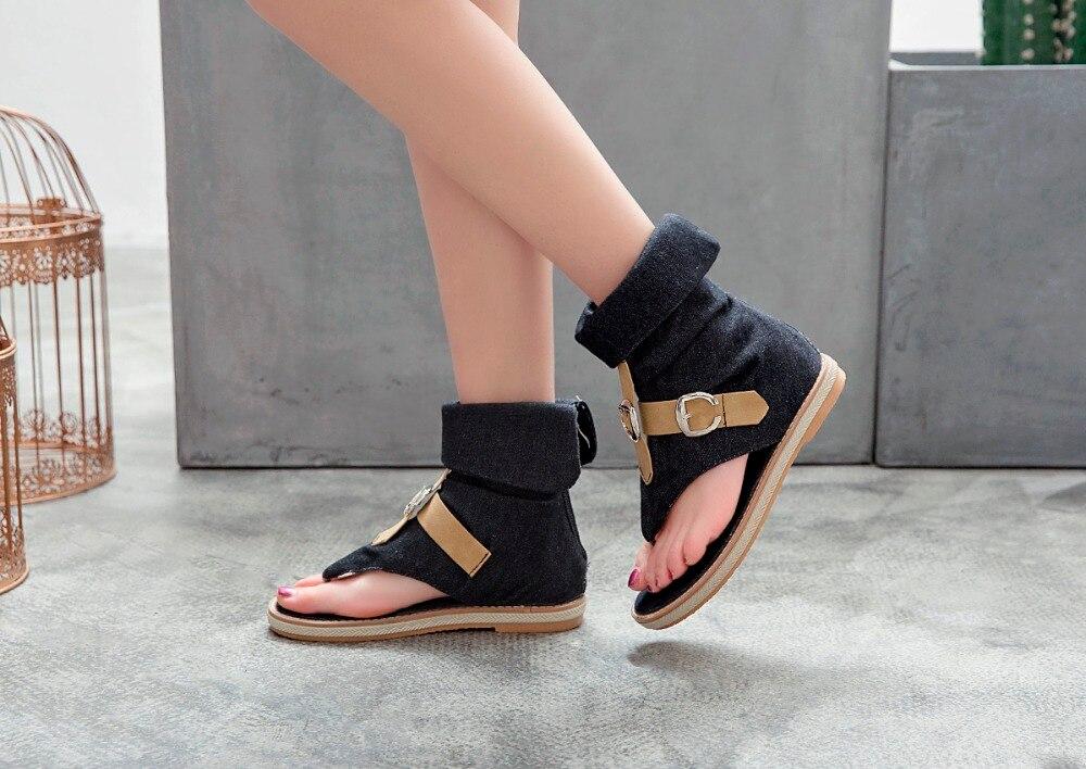 HTB14hvGLpzqK1RjSZFvq6AB7VXam CDPUNDARI Ladies Denim Flat sandals for women Platform Sandals summer shoes woman Gladiator Sandals sandalias mujer 2019