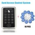 Venta caliente 10 Sistema de Control de Acceso de Tarjetas de Proximidad rfid tag + RFID RFID/EM Teclado de Control de Acceso de la Tarjeta de La Puerta abridor de Envío Libre