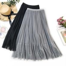 Ladies Skirt Women 2019 Spring Summer New Korean Elegant Long High Waist Pleated Female Womens Fashion Skirts