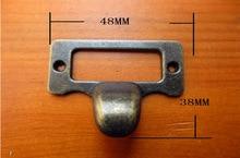 30Pcs Antique finger label frame card holder pull handle for cabinet drawers box bin furniture 48*36mm