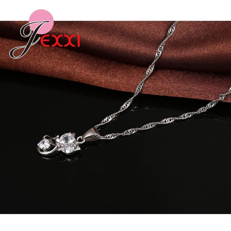 925 Sterling Silber Cubic ia Hochzeit Schmuck Sets AAA Nette Tier Katze Halskette Ohrringe Frauen Kragen Brincos