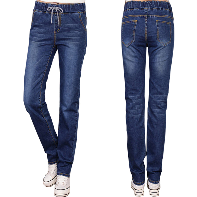 Elastic Waist Jeans Female Straight Drawstring Denim Ladies Vintage Pencil Slim Skinnylong PantsTrousers For Women Bottoms Blue