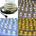 10pcs* 5m/roll Double Color 5050 SMD Flexible LED Light Waterproof DC12V 60Led/m White+ Warm White Strip By DHL Free Shipping