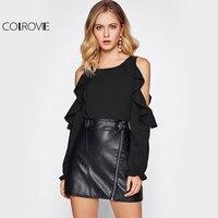 COLROVIE Open Shoulder Long Sleeve Blouse Fall 2017 Fashion Women Sexy Cute Ruffle Tops Casual Cut