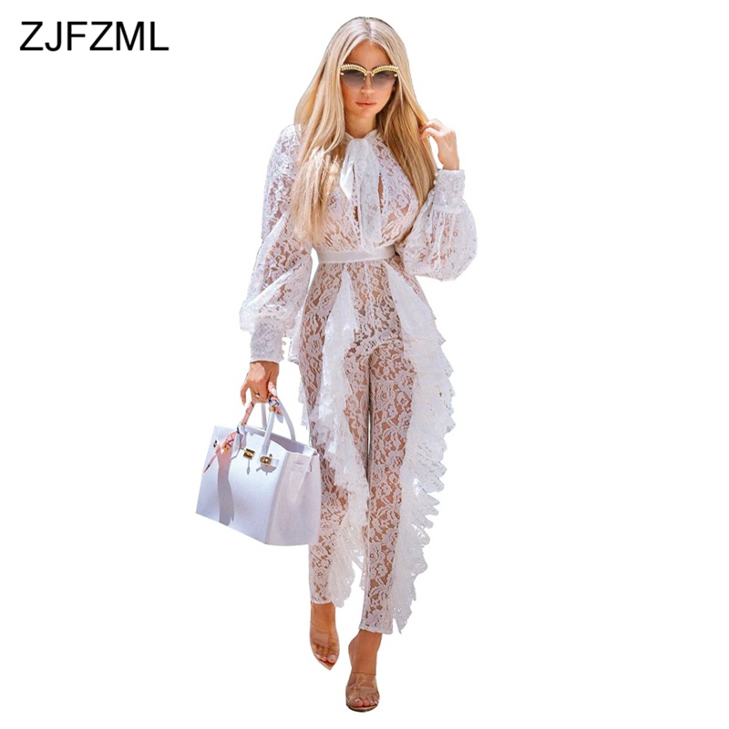 ZJFZML Sheer White Lace Party Club Overalls For Women Long Sleeve Ruffles Bodycon   Jumpsuit   Elegant Christmas See Through Rompers