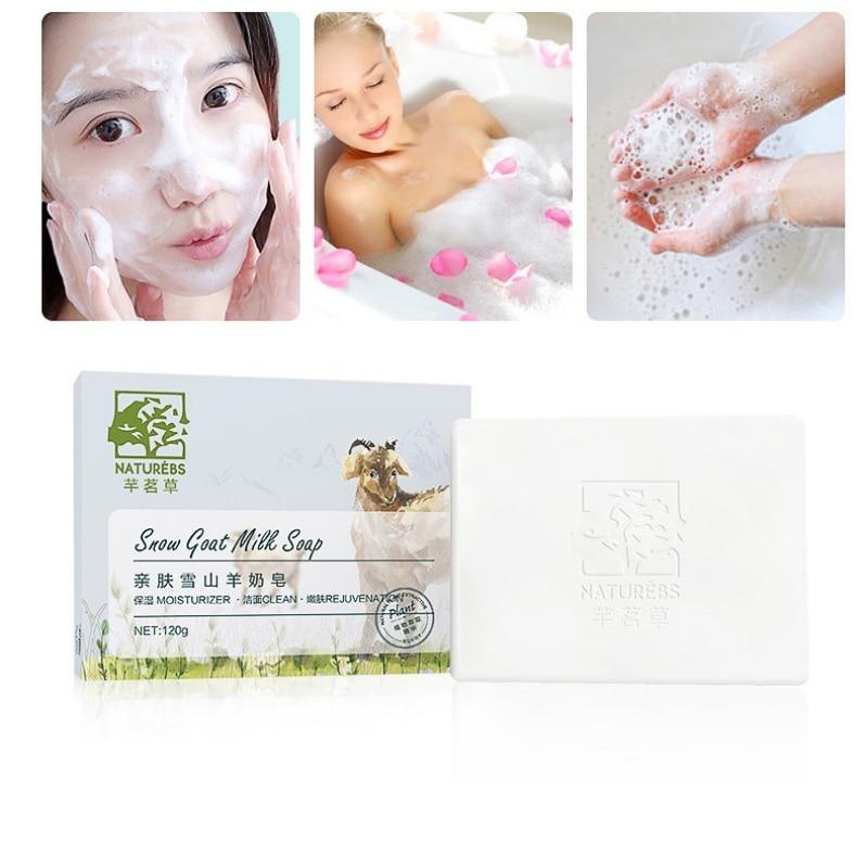120g Goat Milk Handmade Soap Rejuvenate Moisture Whitening Soap Bath Soap Deep Cleaning