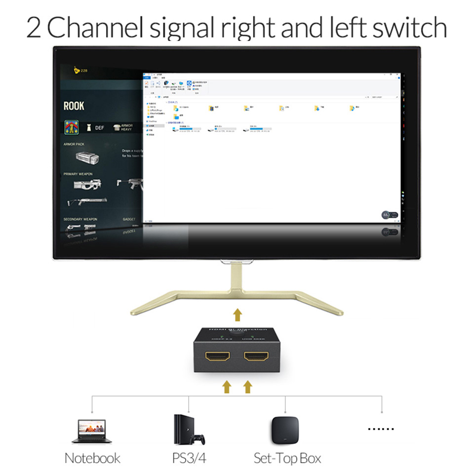 Unnlink HDMI Bi-Direction Switch 4K*2K@30Hz 2X1 or 1X2 HDMI Switch for Android Box DVD HDTV Xbox PS3 PS4 And More