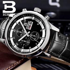 Image 5 - שוויץ גברים של שעונים ספיר BINGER שעון גברים מותג יוקרה קוורץ זכר שעון עמיד למים זוהר שעוני יד הכרונוגרף