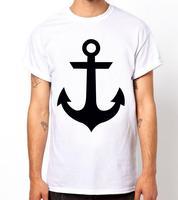 Anchors Print T shirt Fashion Casual Funny Shirt White Streewear Shirts T0099 Short Sleeve Shirts