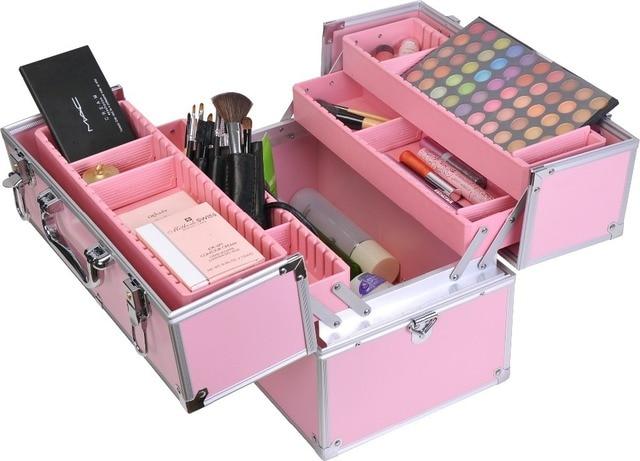 Facebox estuche de maquillaje moda belleza con bandeja interior caja de maquillaje profesional en color negro y rosa