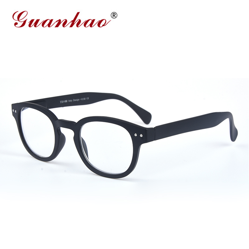 Guanhao Classic Black Frame Retro Style spring Reading Glasses Round Reading Glasse Man Women Unisex Diopter Presbyopia Glasses