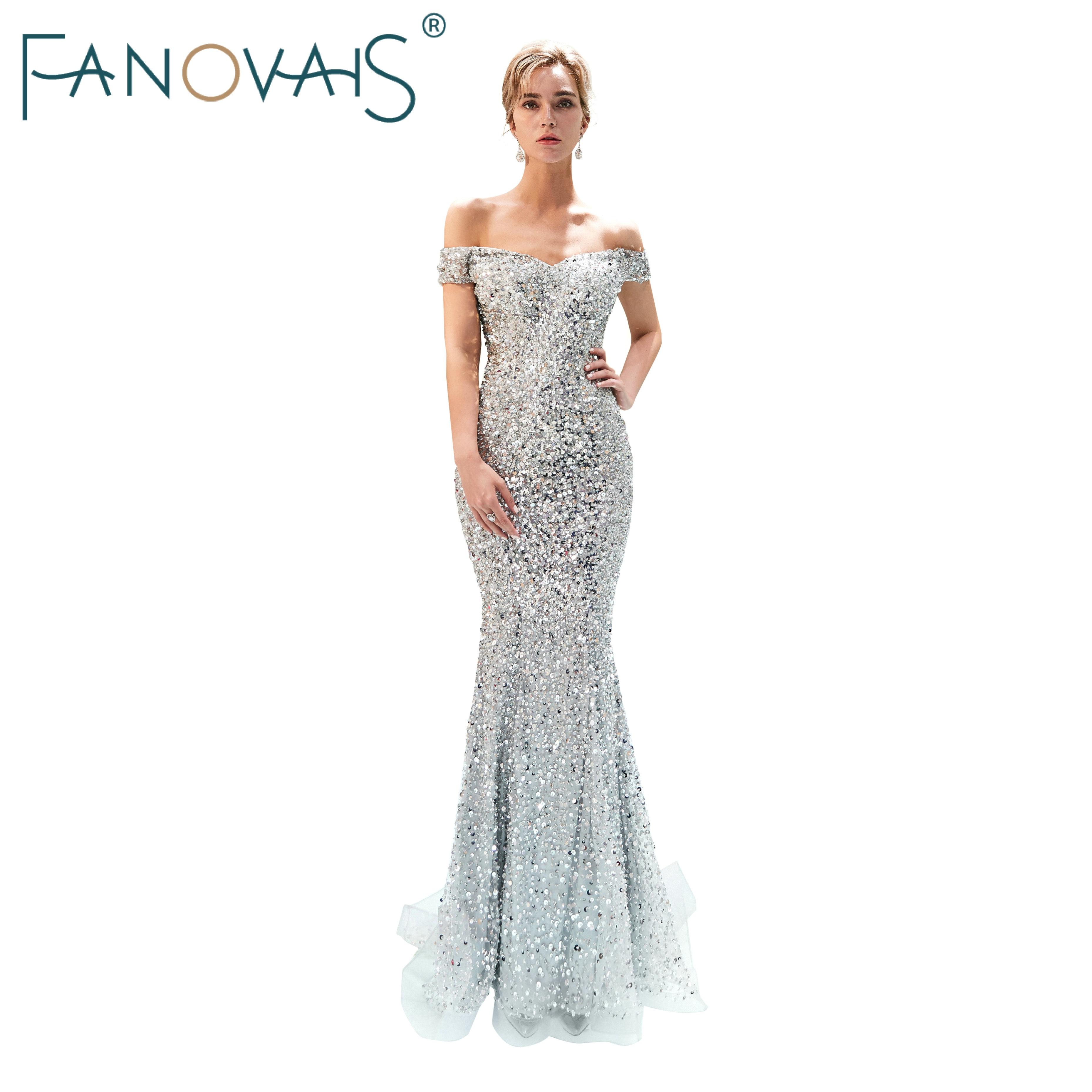 Silver Gray Evening Dresses Off Shoulder Vestido De Festia Shinning Full Beads Evening Gowns Robe De Soiree 2019 Luxury Dress