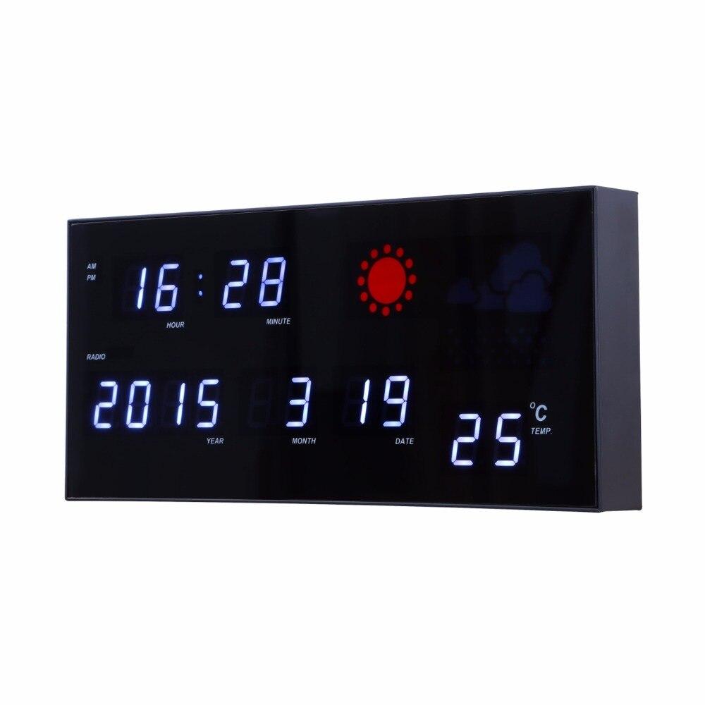 88438519568 Previsão do tempo do relógio com a fase da lua Eletrônico LED relógio  digital com calendário