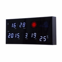 Weather forecast clock with moon phase Electronic LED digital clock with calendar and tempreture living room large wall clock