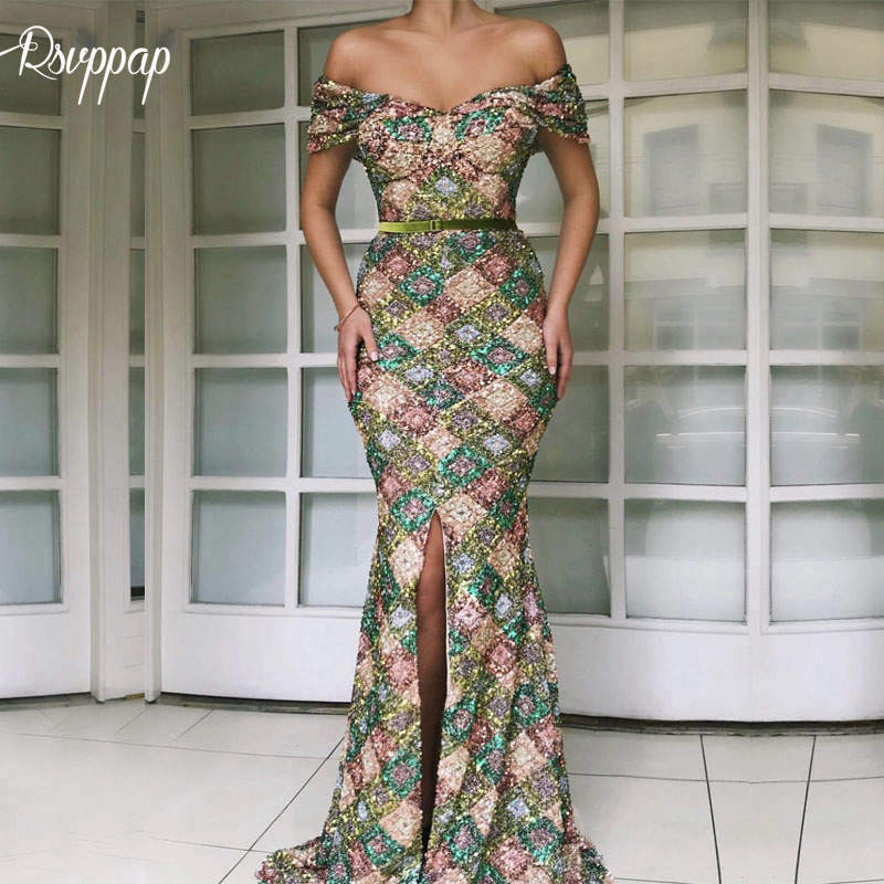 Long Arabic Evening Dresses 2019 Elegant V-neck Mermaid Cap Sleeve Front Slit Sequin Lebanon Women Formal Evening Gowns(China)