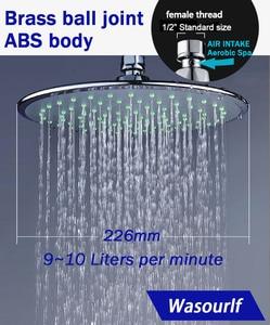 Image 1 - WASOURLF バスシャワー高圧ヘッドシャワー天井シャワーヘッドスパ節水レインシャワーノズルクロームラウンド空気浴室