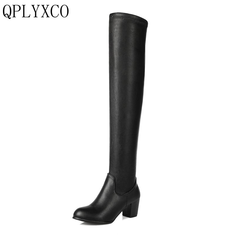 QPLYXCO 2017 New Big Size 34-43 Fashion Women Over Knee Boots Woman Round Toe High Heel Shoes Ladies Elastic Bootie c108 woman high heel over knee high boots woman fashion round toe high heels shoes brand suede leather botas woman size 34 43