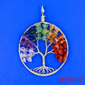 JUWEILI Jewelry 2016 New Beautiful Natural Stone Round Tree Of Life Winding Reiki Pendant Charms Energy Balancing Amulet 10pcs