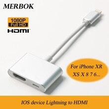 Convertitore AV adattatore Audio Video Full HD compatibile da Lightning a HDMI per iPhone XS XR X 8 8P 7 iPad iPod a TV Display HDTV
