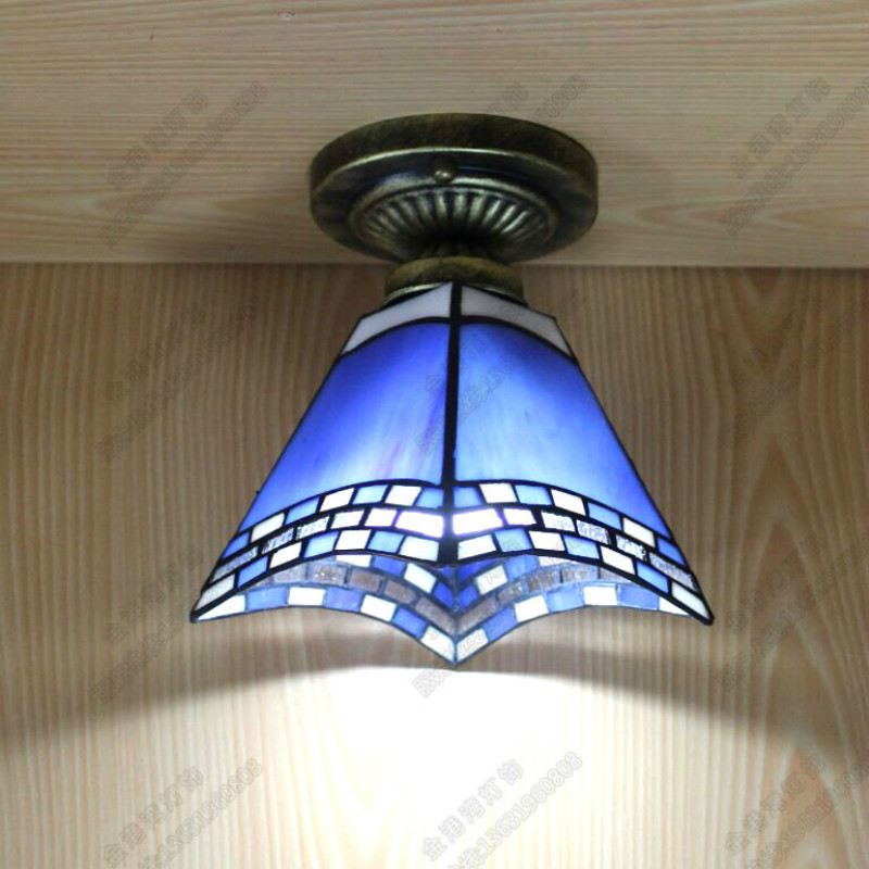 Фотография Vintage Retro Handmde Mediterranean Sea Tiffany Square Led 27 Small Ceiling Lamp For Living Room Balcony Corridor Hallway 2000