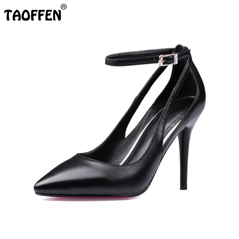 women real genuine leather thin  high heels shoes brand sexy fashion pumps heeled footwear shoes size 33-39 R08345 цены онлайн