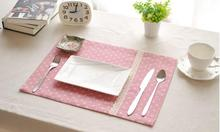 Eco-friendly Cotton Linen Placemat Pink Dining Table Mats Rugs with Lace Table Pad Coaster Korean Table Decoration Kitchen wares