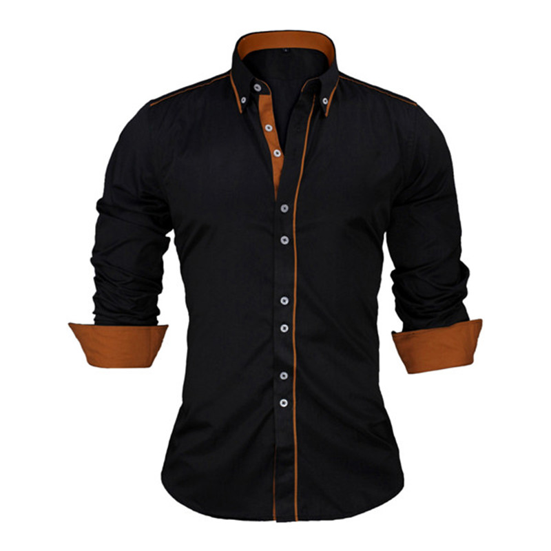 HTB14hx5XROD3KVjSZFFq6An9pXa5 - VISADA JAUNA European Size Men's Shirt New 100% Cotton Slim Business Casual Brand Clothing Long Sleeve Chemise Homme N356