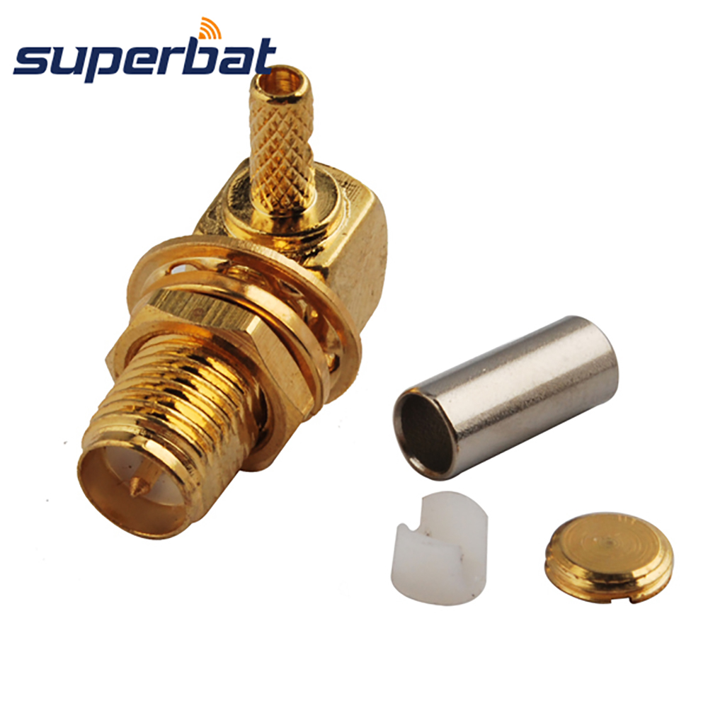 Superbat RP-SMA Crimp Jack(male pin) Right Angle RF Coaxial Connector 50 Ohm for Cable RG174 RG-188A RG316 LMR100