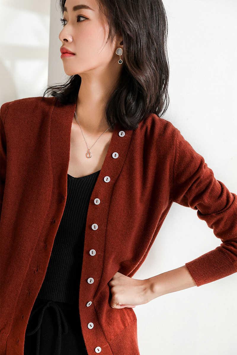 Женский вязаный кашемировый кардиган свитер с длинными рукавами женские осенние прочные кардиганы с v-образным вырезом женские модные топы бежевого и серого цвета