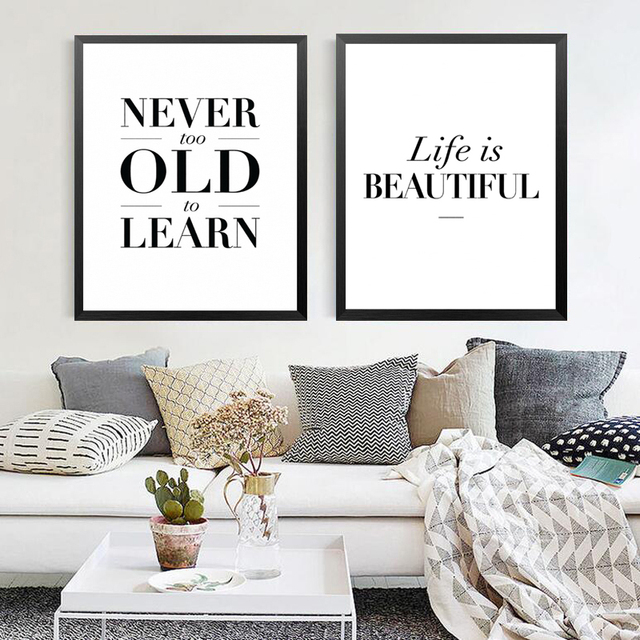Life Quotes Canvas Painting Life Is Beautiful Wall Picture Never Too Old To  Learn Modern Room