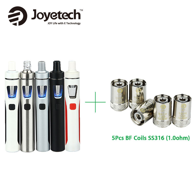 Original Joyetech eGo AIO Kit 1500mAh Quick Vape Kit 2ml Capacity with 5pcs 1.0ohm Coil All-in-One E-Cigarette Vape Vs ijust s