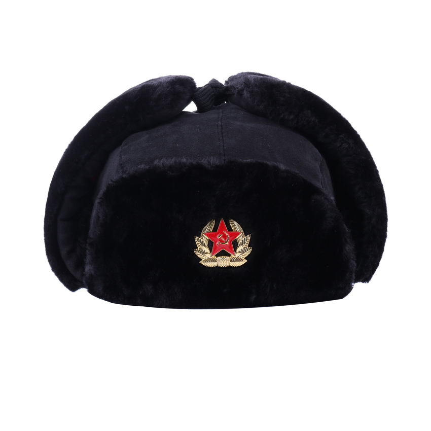 b3cd84b8fb4b5 Soviet Army Military Badge Bomber Hats Russia Ushanka Pilot Trapper Aviator  Cap Winter Faux Fur Earflaps Snow Ski Caps Dad Hat