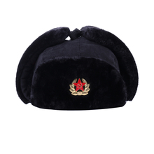 Soviet Army Military Badge Bomber Hats Russia Ushanka Pilot Trapper Aviator  Cap Winter Faux Fur Earflaps 22b5a621db5d