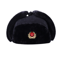 Sovjet Militaire Badge Bomber Hoeden Rusland Ushanka Pilot Trapper Aviator Cap Winter Faux Fur Oorklepjes Sneeuw Ski Caps Papa hoed