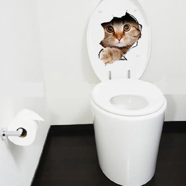 Hole View Cat Dog 3D Wall Sticker Bathroom Toilet Kids Room Decoration Wall Decals Sticker Refrigerator Waterproof Poster