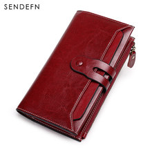 SENDEFN New Designer Female Leather Wallet Women Vintage Ladies Purse Zipper Coin Purse Holder Portefeuiile Femme Wallet 5199-69(China)