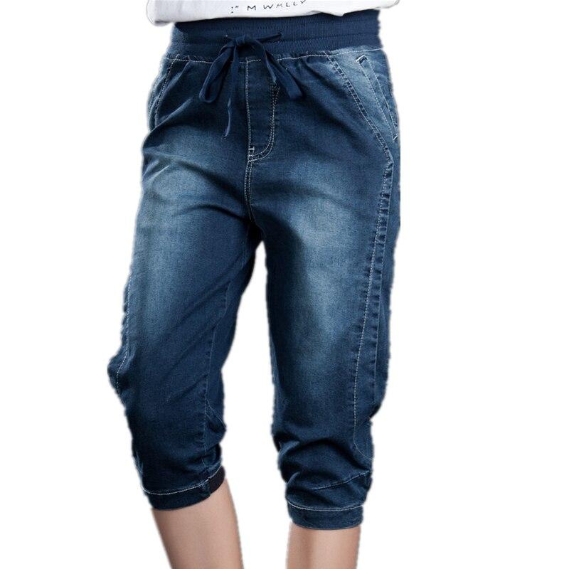 Summer Capris Jeans Stretch Plus Size Breeches Female Harem Denim Pants Elastic Wasit Loose 5XL Knee Length Mom Jeans Women