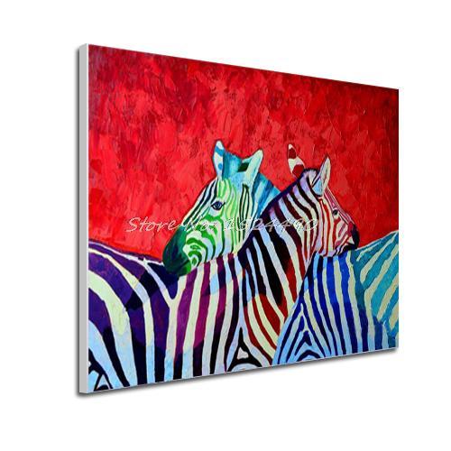 Лидер продаж ручной Краски ed современный Красной основой лошадь Зебра на стену для домашнего декора анималистический настенный Краски ing, художественное украшение для дома, картина Краски на холсте