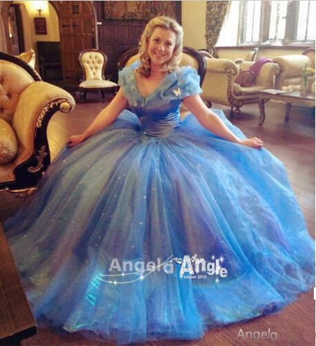 Princess Cinderella Wedding Dress Costume For: 2015 Hot Movie Sandy Princess Cinderella Birthday Gift