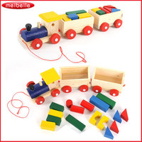 Fun Kids Baby Developmental Toys Toddler Wooden Train Truck Set Vehicle Blocks