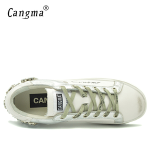 Image 4 - CANGMA  Casual Shoes Brand Sneakers Golden Women Silver Diamond White Flats Genuine Leather Shoes Crystal Goose Trainers